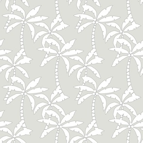 vacation palms white on gray