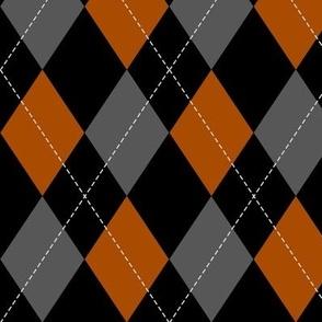 orange-black-grey argyle PATTERN