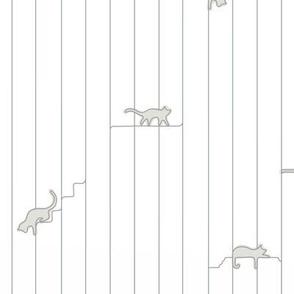 contour line gray kitties on white