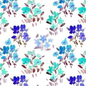 dolce meadow in blue - watercolor wild flowers a345-3