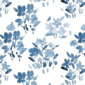 Denim blue dolce meadow - watercolor wild flowers a345-8