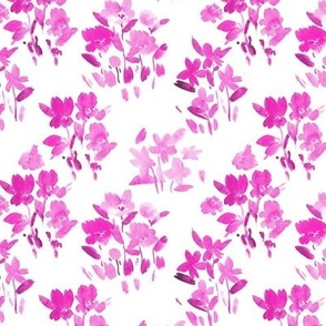 Magenta dolce meadow - watercolor wild flowers a345-10