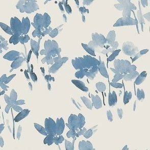 Blue on cream dolce meadow - watercolor wild flowers a345-14