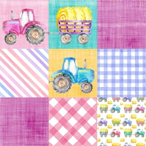 pink purple tractor cheater quilt