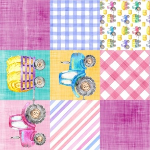 pink purple tractor cheater quilt rotated