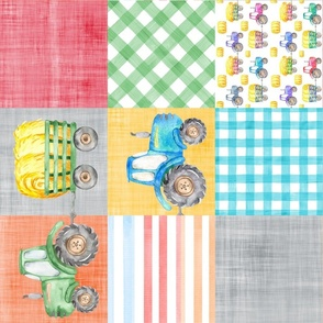 tractor cheater quilt multicolored rotated