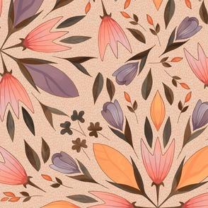 Folk art flowers on mustard