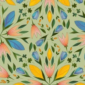 Folk art flowers on sage