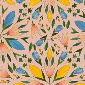 Folk art flowers on pink