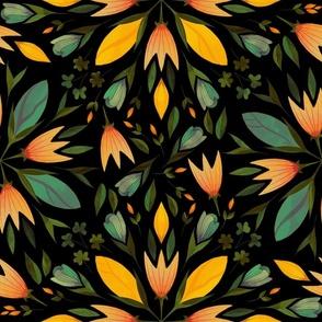 Fall folk art flowers on black