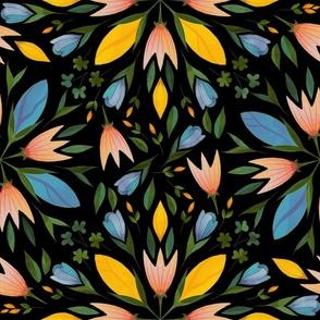 Folk art flowers on black