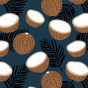 Coconut palm leaves garden tropical jungle fruit island vibes navy blue black brown neutral