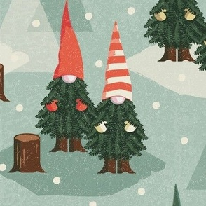 tree gnomes vintage green large scale
