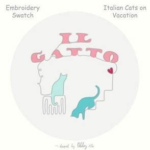 italian cats on vacation embroidery swatch