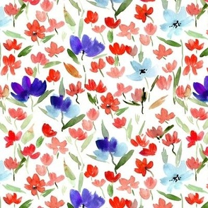 Sardinian meadow in red and blue - watercolor wild flowers - loose painterly florals a366-2