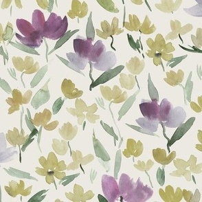 Sardinian meadow - watercolor wild flowers - loose painterly florals a366-11