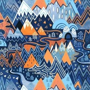 Maximalist Mountain Maze - Bright Orange & Royal Blue - Small Scale