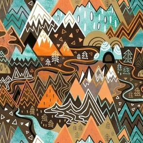 Maximalist Mountain Maze - Chocolate Brown, Mint & Orange - Small Scale