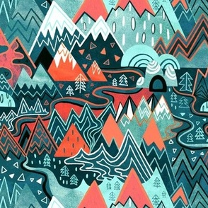 Maximalist Mountain Maze - Bright Mint & Tangerine - Small Scale