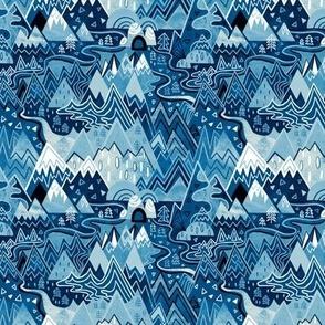 Maximalist Mountain Maze - Winter Blues - Small Scale