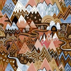 Maximalist Mountain Maze - Chocolate Brown, Tan & Steel Blue - Small Scale