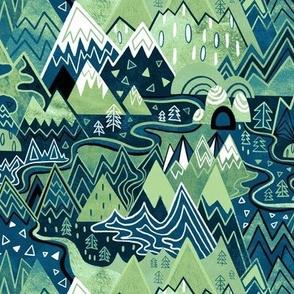 Maximalist Mountain Maze - Pastel Green & Royal Blue - Small Scale