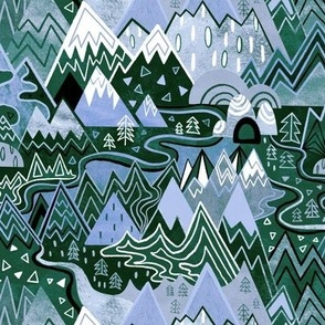 Maximalist Mountain Maze - Periwinkle Purple & Forest Green - Small Scale