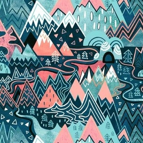 Maximalist Mountain Maze - Pastel Pink & Aqua - Small Scale
