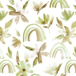 Khaki magic rainbows with florals - green watercolor whimsical pattern for modern nursery a371-2