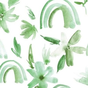 Kelly green magic rainbows with florals - watercolor whimsical pattern for modern nursery a371-3