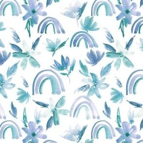 Blue-emerald magic rainbows with florals - watercolor whimsical pattern for modern nursery a371-5