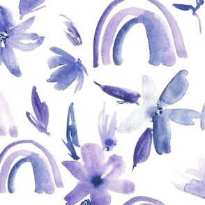 Amethyst magic rainbows with florals - watercolor whimsical pattern for modern nursery a371-6