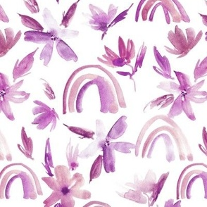magic lilac rainbows with florals - watercolor whimsical pattern for modern nursery a371-7