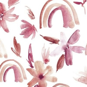 Rust and earthy magic rainbows with florals - watercolor whimsical pattern for modern nursery a371-8