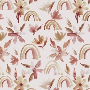 Earthy boho cream magic rainbows with florals - watercolor whimsical pattern for modern nursery a371-10