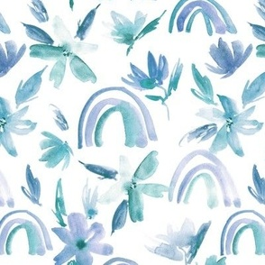 Blue and emerald magic rainbows with florals - watercolor whimsical pattern for modern nursery a371-5