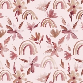 Neutral magic rainbows with florals - watercolor whimsical pattern for modern nursery a371-11