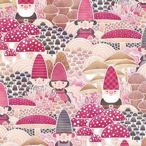 Gnomes in the magic Mushroom Forest