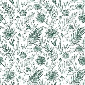 Watercolor floral dark teal
