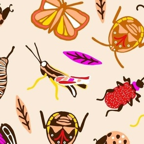 Large Retro Bugs in color Toffee