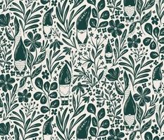 Garden Gnomes - dark green and cream - medium