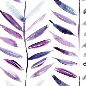 Amethyst tropical chevron - purple leaves herringbone - watercolor nature a393-4