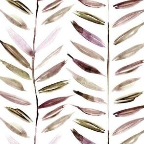 earthy tropical chevron - leaves herringbone - watercolor nature a393-5