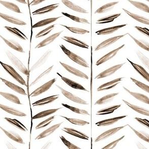 Earthy tropical chevron - leaves herringbone - watercolor nature a393-9