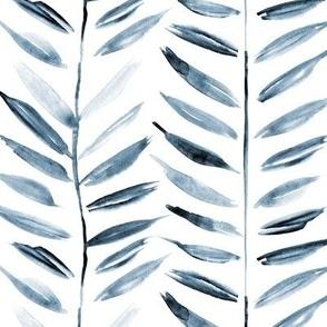 Indigo tropical chevron - blue leaves herringbone - watercolor nature a393-12