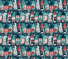 Small scale // Let it gnome // dark teal background little Santa's helpers preparing for Christmas neon red mint dark green and duck egg blue dressed gnomes