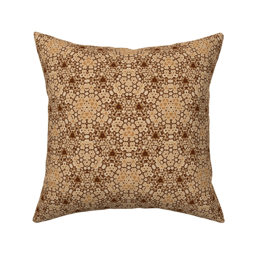 Catalan Throw Pillow featuring Beige and Brown Digital Tapestry by gingezel