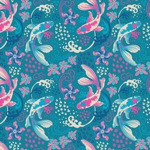 Lantern Of Dreams Ivory Pink Blue Dark Teal Background-Mid Century Modern Regular Scale
