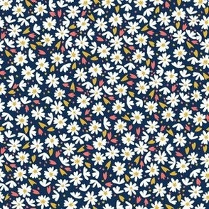 Scatter Daisy / navy coral gold