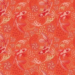 Lantern Of Dreams Ivory Pink Red Orange Background-Mid Century Modern Regular Scale